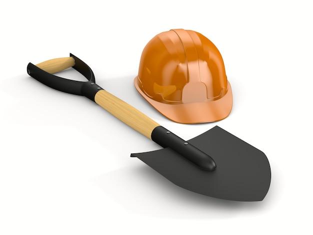 Orange hard hat and shovel on white background. garden tool. isolated 3d iillustration