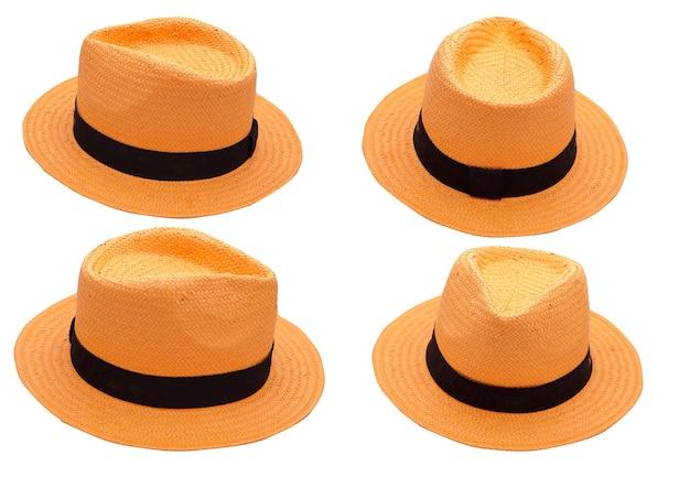 Cappello arancione su sfondo bianco isolato. accessorio di moda estivo