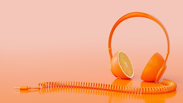 Orange headphone with clipping path and copy space for your text. minimal idea concept