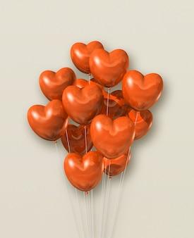ベージュのオレンジ色のハート型気球グループ