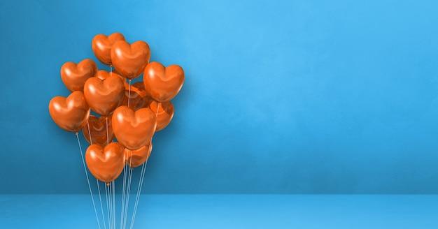 Orange heart shape balloons bunch on a blue wall background. horizontal banner. 3d illustration render
