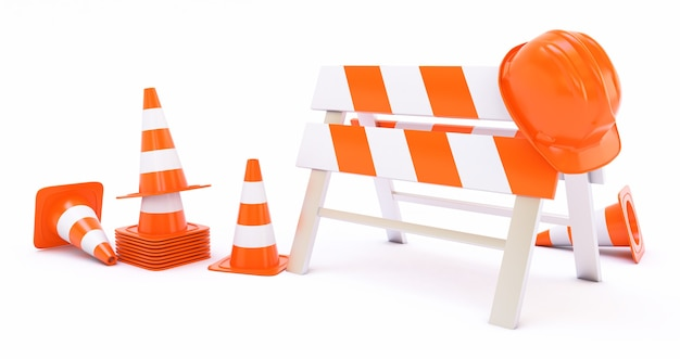 Orange highway traffic construction cones and a helmet isolated on white background 3d render