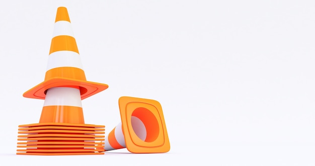 Orange highway traffic construction cones isolated on white background 3d render