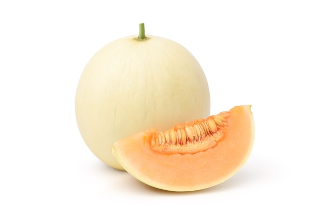 Orange honeydew melon with slice isolated on white background. clipping path.