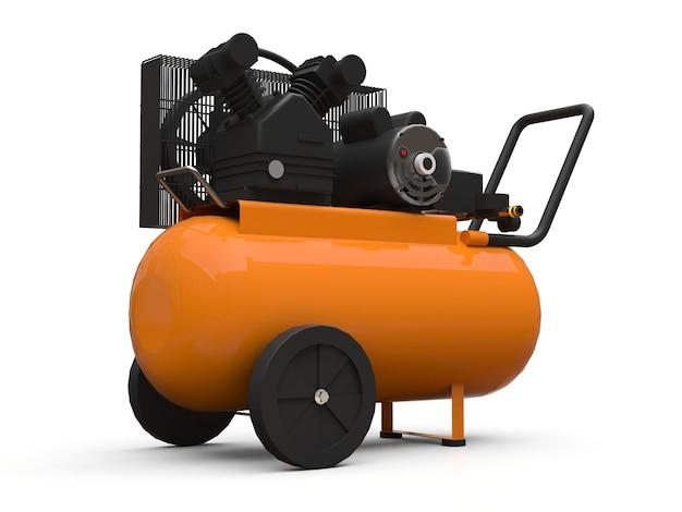 오렌지 수평 공기 압축기 흰색 배경에 고립입니다. 3d 그림입니다.