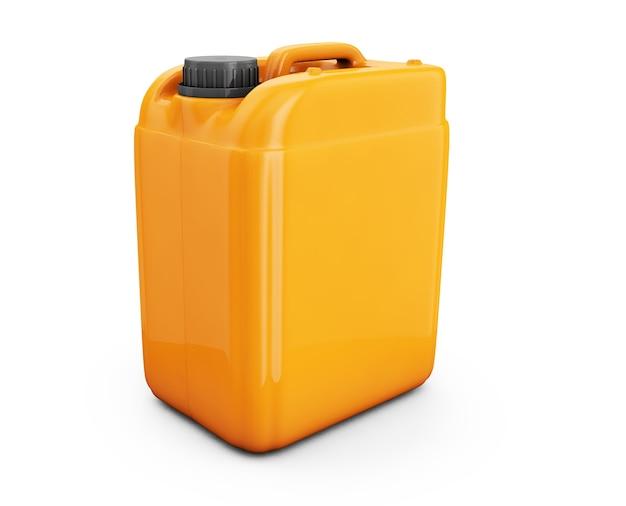 白い背景の3dレンダリングで分離されたオレンジ色のジェリカン