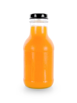 흰색 바탕에 오렌지 주스 병