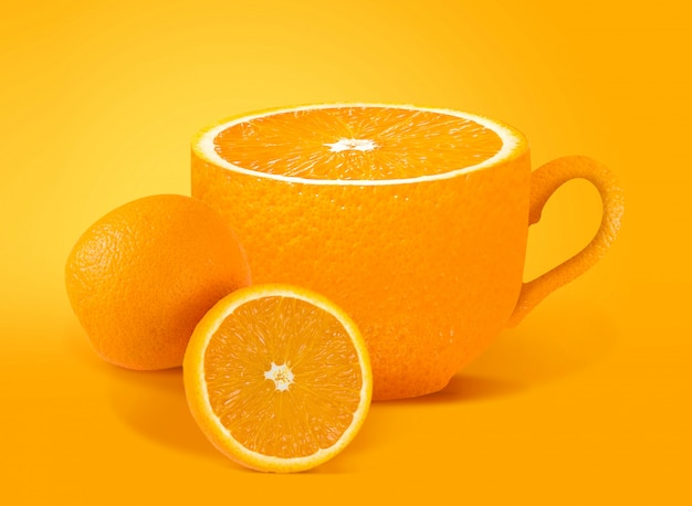 Orange juice creative concept for poster