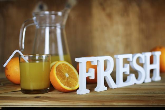 オレンジジュースのガラススライス