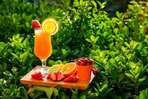 Orange juice in a goblet with citrus fruits, strawberry, cherry, cutting board side view on a meadow