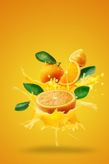 Orange juice splashing on fresh sliced over orange