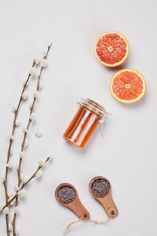 Orange and lavender body care products