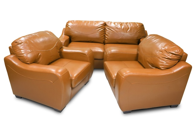 Orange leather sofa isolated on white background