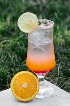 Orange lemon juice with ice cubes in the garden.