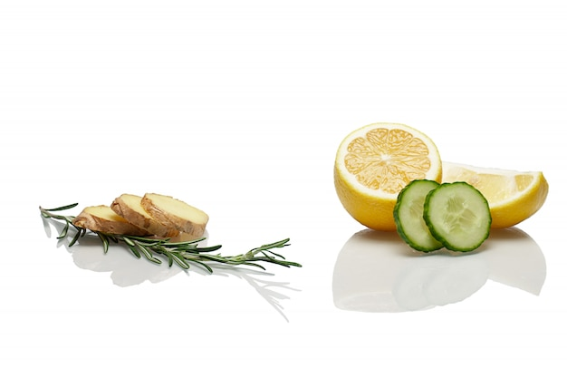 Orange, lemon, rosemary, cucumber, ginger - ingredients