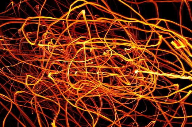 Orange light tail on in darknees background