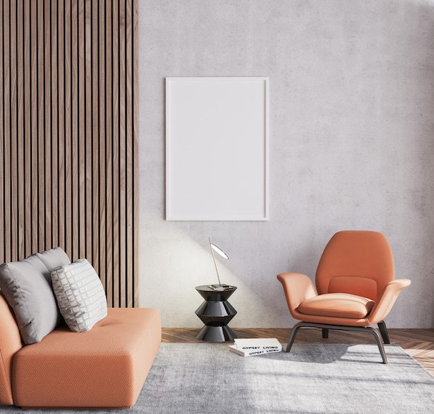 Orange living room with sofa and chair