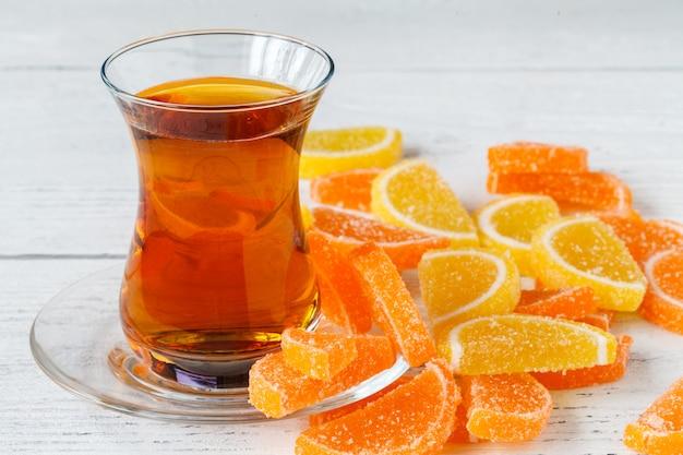 Orange marmelade jelly close up view