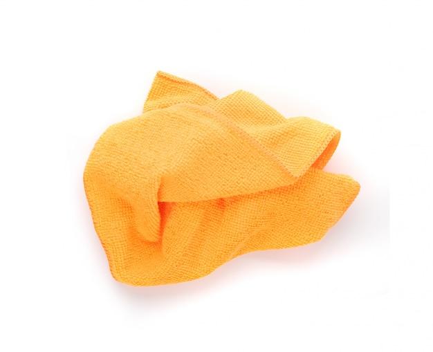 Ткань для чистки оранжевого микрофибры изолированные