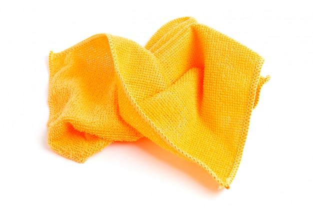 Orange microfiber cloths on a white