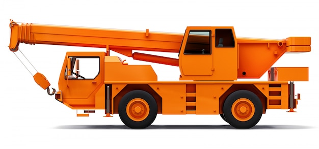 Orange mobile crane. three-dimensional illustration