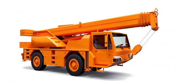 Orange mobile crane. three-dimensional illustration