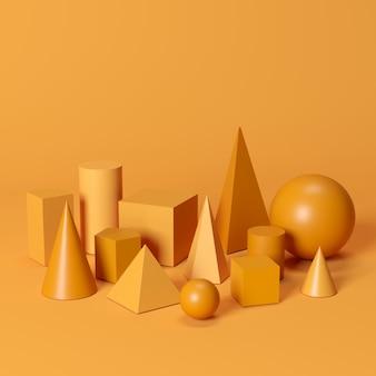 Orange monotone geometric shapes set on orange background. minimal concept idea