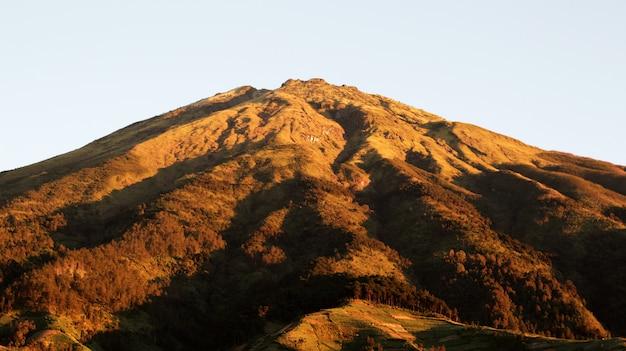 Orange mountains in the morning sunrise