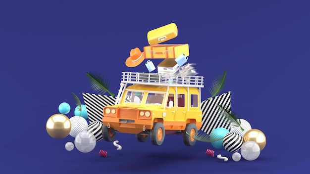 An orange off-road vehicle with luggage and colorful balls on purple. 3d rendering.