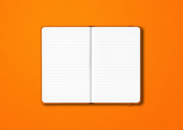 Orange open lined notebook mockup isolated on colorful background