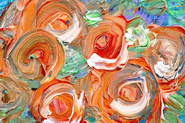 Оранжевая краска текстурированный фон аннотация ручной работы экспериментальное искусство