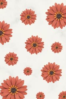 베이지색 바탕에 오렌지 종이 공예 데이지 패턴