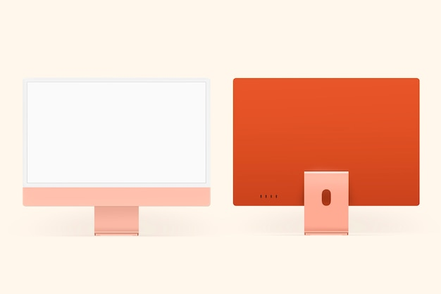 디자인 공간이 있는 주황색 파스텔 컴퓨터 데스크탑 화면 디지털 장치
