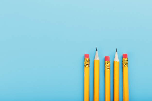 Orange pencils with an eraser on blue.