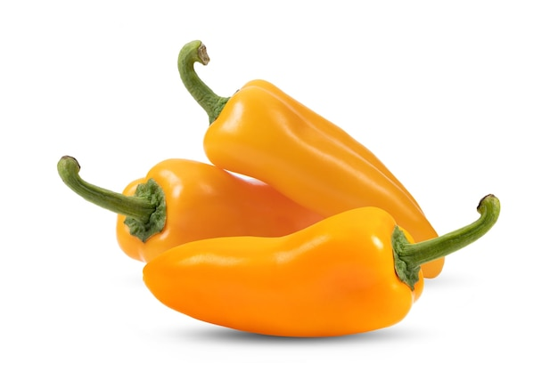 Orange peppers(capsicum) on a white background