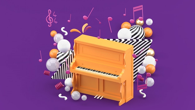 The orange piano is surrounded by notes and colorful balls on the purple. 3d render