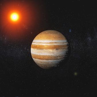 Orange planet in the solar system