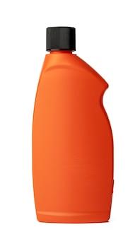 흰색 절연 액체 세제의 주황색 플라스틱 병