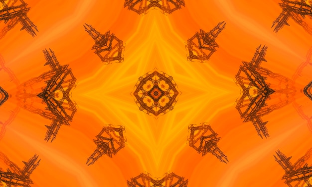 Orange polygonal kaleidoscope pattern, which consist of triangles. geometric background in origami style with gradient. triangular design for your business.