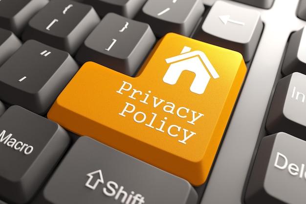 Оранжевая кнопка политики конфиденциальности с домашним значком на клавиатуре компьютера. интернет-концепция. 3d визуализация.