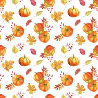 주황색 호박, 가을 노란 잎, 흰색 바탕에 붉은 마가목 열매.
