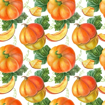Orange pumpkin on black background. seamless pattern. summer,autumn illustration of vegetables.