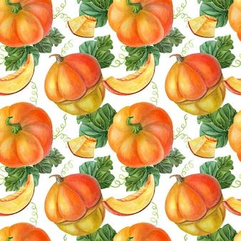 黒の背景にオレンジ色のカボチャ。シームレスパターン。野菜の夏、秋のイラスト。