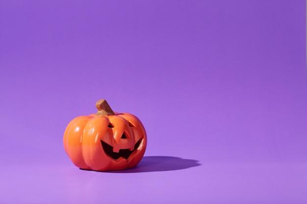 パステルバイオレットのオレンジ色のカボチャ