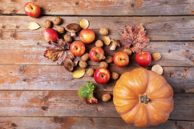 Cardoncelli 버섯, 사과, 호두와 오래 된 소박한 나무 보드에 화려한 잎 오렌지 호박.