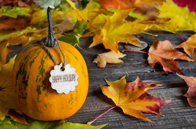 Orange pumpkin with a happy holiday text on wooden table