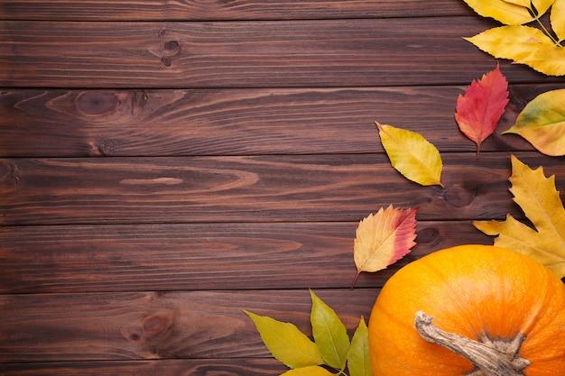 茶色の背景に葉とオレンジ色のカボチャ