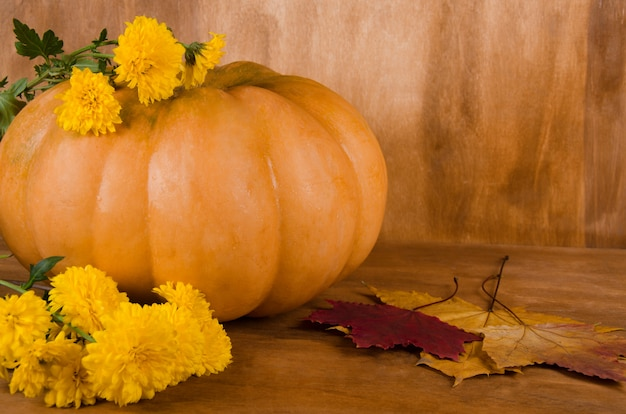 Orange pumpkin with yellow flowers and maple leaves