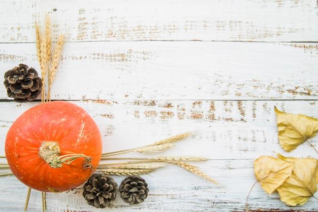 Orange pumpkin on wooden table