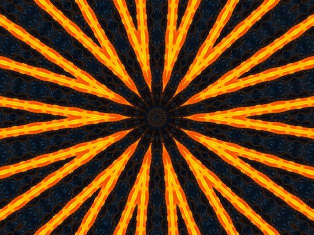 Оранжевые лучи звезд на черном ретро текстурированном узоре 70-х годов. абстрактный фон уникальный калейдоскоп. красивый калейдоскоп бесшовные модели. бесшовные текстуры калейдоскоп.